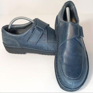 Naot blue leather loafers low heel sz 6.5 (EUR 37)